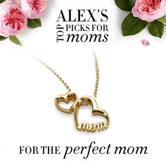 #alexwoo #mothersday #littlewords #momhearts http://www.alexwoo.com/little-words-double-mom-hearts-in-14kt-yellow-gold.html