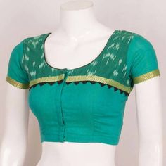 Handcrafted Ikat Cotton Blouse With Tie-Up Back & Solid Patti Edging
