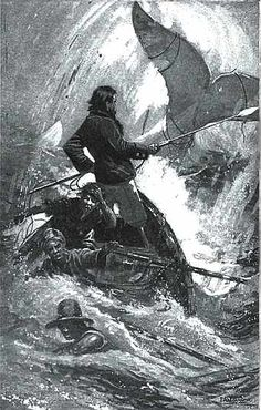 Inspiration for Moby-Dick tattoo.  I'd really like an image of Tashtego nailing the flag to the ship's spar as it goes down.