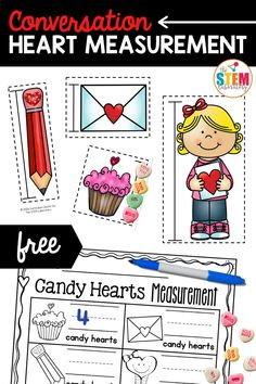 Looking for fun measurement activities and worksheet? Our fun Valentine's Day inspired conversation heart measurement activity is just what you're looking for! This fun and engaging math activity is perfect for Kindergarten and first grade students.