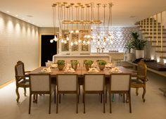 Sala de jantar com os pendentes da moda! #assimeugosto #lightdesign