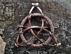 Items similar to Celtic Trinity Knot Pin or Necklace - Celtic Triangle - Triquetra Triskele Triskelion - Celtic knot jewelry - Copper wire wrap pin/necklace on Etsy Celtic Knot Jewelry, Jewelry Knots, Triquetra, Copper Jewelry, Copper Wire, Pure Copper, Jewlery, Wire Crafts, Jewelry Crafts