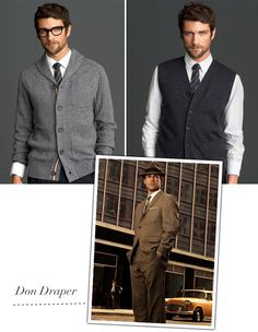 Mad Men Fashion for the Groom... or maybe not. I do love a good sweater vest.