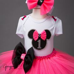 Birthday set includes white soft cotton onesie, hot pink tulle skirt with black bow, and matching head piece. Offered by Online Baby Shop - Itty Bitty Toes!