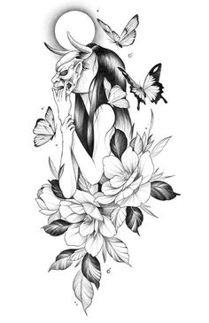 """""""more scary looks outside than everything in it. human or devil? Japanese Tattoo Art, Japanese Tattoo Designs, Flower Tattoo Designs, Flower Tattoos, Cute Tattoos, Body Art Tattoos, Girl Tattoos, Sleeve Tattoos, Tribal Tattoos"""