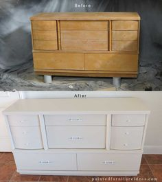 Before And After Pictures Of A Mid Century Dresser Refinished In Toasted  Almond With White Hardware
