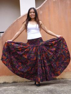 Boho Long Skirt   .....Long Skirt  ... Printed Fabric Aladdin Pants, Long Skirts, Boho Dress, Printed Cotton, Smocking, Tie Dye Skirt, Printing On Fabric, Hemline, Cotton Fabric