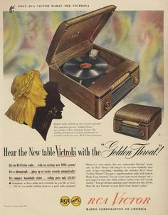 """1946 RCA Victor Victrola Ad RCA showcases its latest model, the RCA Victor radio, which sported exclusive features such as """"Silent Sapphire"""" and """"Golden Throat. Victrola Record Player, Radio Record Player, Record Players, Vintage Records, Vintage Music, Vintage Ads, Retro Ads, Phonograph, Print Ads"""