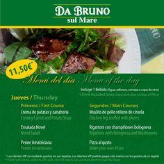 Menú of the day /Menú del día   11,50€ dos platos 1 bebida   www.dabruno.com
