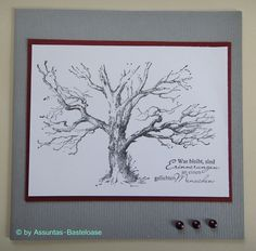 Trauer- und Beileidskarte,  gestempelt mit einem alten Baum ohne Blätter Quilling, Handmade, Home Decor, Urn, Old Trees, Going Away, Stamping, Card Crafts, Bedspreads