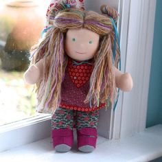 Bamboletta Classic Tabitha (January 12, 2012) - called Agatha by Devanie  This is Tabitha. She has fair skin, long hair made with mohair and wool yarns in a light brown color with multi-colored fairy bits and teal ...