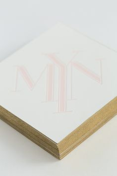Yonder Design | Blush and White, Romantic Wedding, Modern Wedding, Custom Invitations, Unique Invitations, Monogram, Geometric, Art Deco, Blush Wedding, Gold Thread, Gold Gilded, Blush Invitation, Wedding Design, Wedding Inspiration, Gold Edging, Square Invitation, Letterpress, Gold Accents, Blush Diamond
