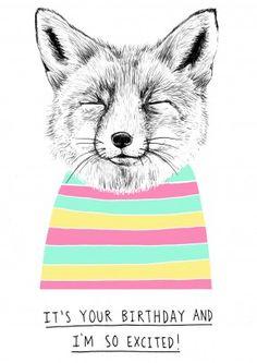 Excited+Fox+ +Birthday+Card+ WB1052