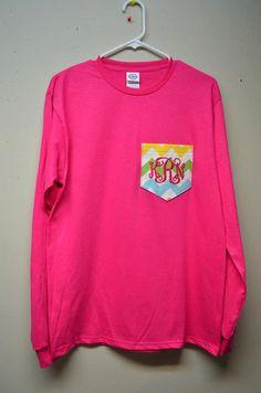 Monogram Pocket TShirts by thepolkadotdivas on Etsy, $20.00