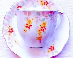 Bell Bone China Floral Spray 1930's Tea Cup and Saucer//Art Nouveau Tea Cup - Edit Listing - Etsy