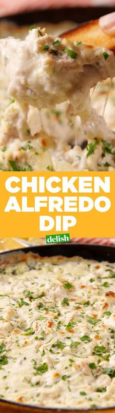 """Chicken Alfredo Dip Chicken Alfredo Dip Alfre-don't mind if we do!"""", """"name"""": """"Chicken Alfredo Dip"""", """"authors"""": []}, """"link"""": {""""locale"""": """"en. Recipes Appetizers And Snacks, Finger Food Appetizers, Yummy Appetizers, Appetizers For Party, Party Snacks, Desserts, New Recipes, Cooking Recipes, Favorite Recipes"""