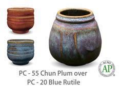AMACO Potter's Choice layered glazes PC-20 Blue Rutile and PC-55 Chun Plum.