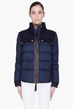 MARNI Navy Leather Trim Bomber Jacket