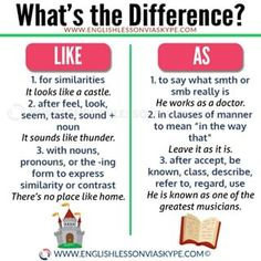 ♥ARE YOU CONFUSED? As and like are often confused by ESL students since they are both used to compare actions or situations. There are, however, important differences you have to remember. *** Save this post and make your life easier! English Grammar Rules, Teaching English Grammar, English Verbs, English Writing Skills, English Vocabulary Words, English Phrases, Learn English Words, English Language Learning, Grammar Tips