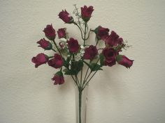 Lot of 4 BURGUNDY Mini Rose Buds 21 Bushes Silk Flower Artificial ** Details can be found by clicking on the image.