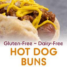 GF DF Hot Dog Buns Gluten Free Hamburger Buns, Hamburger Bun Recipe, Gluten Free Sandwiches, Sandwich Bread Recipes, Dairy Free Hot Dogs, Dairy Free Baking, Canned Tomato Sauce, Chili Recipes, Hot Dog Buns