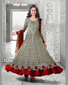 We Have Ensemble A Symphony Of Enchanting Piece To Restyle Your Senses. Looking Amazing With Attachment Of Gray Chiffon, Faux Georgette & Net Salwar Kameez. The Lovely Cord Work, Floral Patch, Resham & Stones Work Throughout The Attire Is Awe-Inspiring.