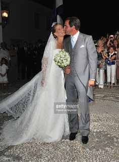Tatania Blatnik and Prince Nikolaos of Greece outside the Cathedral of Ayios Nikolaos (St. Nicholas) after their wedding ceremony on August 25, 2010 in Spetses, Greece. Representatives from Europe�s royal families have joined the many guests who have travelled to the island to attend the wedding of Prince Nikolaos of Greece, the second son of King Constantine of Greece and Queen Anne-Marie of Greece and Tatiana Blatnik an events planner for Diane Von Furstenburg in London.