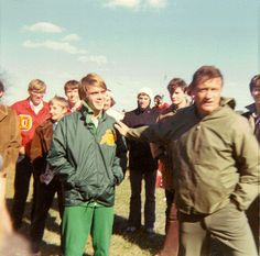 Steve Prefontaine and Bill Dellinger, Nov. 22, 1971, NCAA Cross-Country Championships, Knoxville TN.
