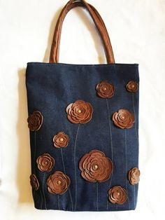 Dril de algodón bolso bolso bolso Tote con verano tachonado
