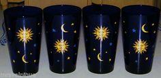 $40 Libbey Cobalt Blue Celestial Sun Moon and Stars Set of 4 Glasses Tumblers Nice | eBay