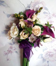 Wedding Bouquet Purple Callas Ivory Champagne silk by AmoreBride, $119.00