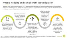 Nudging is becoming increasingly popular in the workplace and even in government. What is nudging and what benefits does it bring? Behavioral Economics, Workplace, Benefit, Leadership, Insight, Knowledge, Management, Popular, Learning