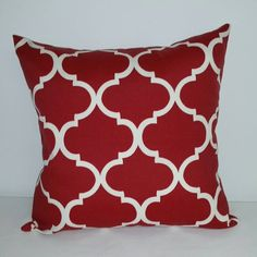 This listing is for a red and ivory Americana pillow cover in a 20 x 20 inch size.  A 20 x 20 inch pillow insert will fit in this slightly smaller pillow cover. This produces a nice plump pillow. Pillows are an inexpensive way to transform a room quickly and easily and give it a fresh new look.  Same fabric front and back. 100 % cotton home decor fabric. Envelope closure in the back. All seams are overlocked/serged for a great finished look. Care instructions: machine wash cold, lay flat...