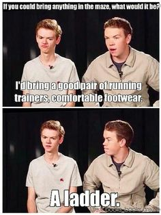 I would bring the Maze Runner Series with me and walk around telling all the Gladers their fates. Oh my gosh I live Thomas Brodie-Sangster so much. Newt Maze Runner, Maze Runner Funny, Maze Runner Series, Maze Runner Quotes, Maze Runner Thomas, Maze Runner Movie, Thomas Brodie Sangster, Stupid Funny Memes, Funny Relatable Memes