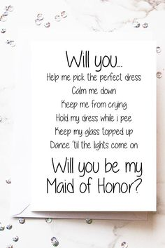 Will you be my Maid of Honor Card Head Bridesmaid Proposal