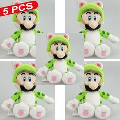 """Find More Dolls Information about New 5 PCS Super Mario Bros CAT LUIGI Green 3D WORLD SOFT Stuffed Plush Doll Kids Toys Christmas Gift Approx 18cm/7"""",High Quality toy steering wheel for car seat,China gift toys for kids Suppliers, Cheap gift from M&J Toys Global Trading Co.,Ltd on Aliexpress.com"""