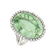Platinum, Green Beryl and Diamond Ring One oval green beryl ap. Jewelry Auctions, Round Diamonds, Gemstone Rings, Gemstones, My Style, Beverly Hills, Green, Color, Gems
