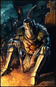 m Paladin plate helm sword night camp An alternate title for this image might be: Solaire's Despair Dark Souls- Solaire of Astora I'm a huge fan of the souls series, so it feels pretty good to finally get a fan art piece up in apprecia. Fantasy Armor, Medieval Fantasy, Dark Souls Solaire, Soul Saga, Arte Dark Souls, Bd Art, Praise The Sun, Landsknecht, Knights Templar