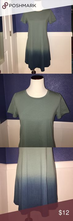 Cool dip-dye tee shirt dress Brand new, never worn. No brand tag, just a care tag at the side seam of the skirt. Colors ombré from dusty light blue green to teal to blue at the bottom. Size m/6. Dresses Mini