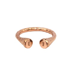 Rose gold-plated open-ended ring with hammered texture. Excellent stacking ring!