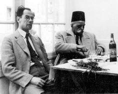 John Pentland and Georges Gurdjieff in a roadside café, France 1949.  L'INCONOSCIBILE GURDJIEFF by Margaret Anderson   http://www.macrolibrarsi.it/libri/__inconoscibile_gurdjieff.php?pn=166