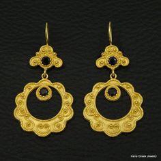 LUXURY SAPPHIRE CZ BYZANTINE 925 STERLING SILVER 22K GOLD PLATED GREEK EARRINGS #IreneGreekJewelry #DropDangle
