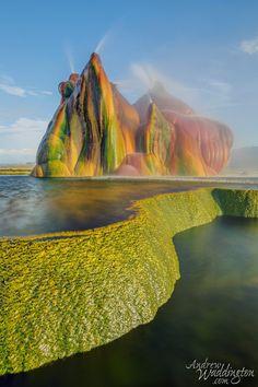 Fly Geyser, Nevada. Looks like a Dr. Seuss island.