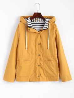SHARE & Get it FREE | Stripes Panel Snap Button Hooded Jacket - Mustard MFor Fashion Lovers only:80,000+ Items • New Arrivals Daily Join Zaful: Get YOUR $50 NOW!