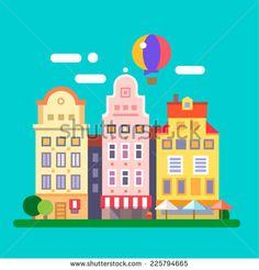 European streets. building facades. Vector flat illustration