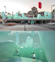 This quirky inflatable rooftop garden was made for Instagram, here's a first look. Public Space Design, Basement Inspiration, Rooftop Garden, Sustainable Architecture, Urban Landscape, Event Venues, Installation Art, Sculpture, Event Design