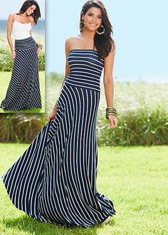 Navy & White (NVWH) Stripe Strapless Maxi Dress