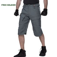 FREE SOLDIER outdoor hiking tactical cropped short pants men summer scratch-resistant multi-pocket shorts for camping climbing Outdoor Companies, Hiking Shorts, Kids Tents, Shorts With Pockets, Pocket Shorts, Men Hiking, Brown And Grey, Gray Green, Military Fashion