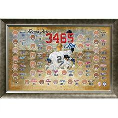 Derek Jeter 3465 Career Hits MLB Map 20x32 Framed Collage w Game Used Dirt From 30 Parks