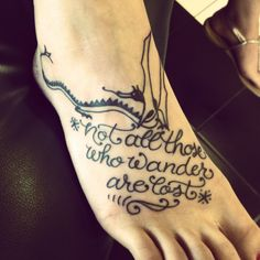 "I'm a total Lord of the Rings nerd, and I finally did it! ""Not all those who wander are lost."" #lotr #tattoo #quotes"